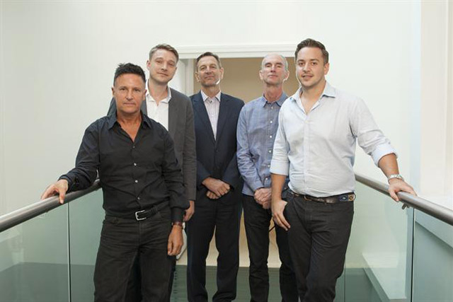 In partnership: from left, Malcolm Green, Stephen Wise, Mark Lund, Greg Delaney and Tom Maverley