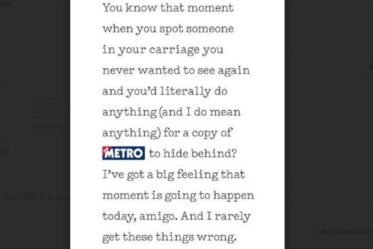 Metro: campaign aims to show brand is ingrained in London life