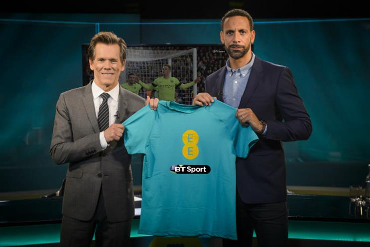 BT Sport and EE: Kevin Bacon and Rio Ferdinand will feature in a new ad campaign
