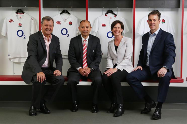 (L-R): RFU CEO Ian Ritchie; England Rugby head coach Eddie Jones; O2 head of marketing Nina Bibby; and O2 CEO Mark Evans