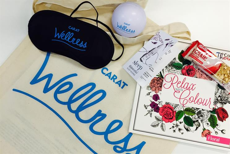 Carat: it is launching its wellness month on Monday with this goody bag for staff