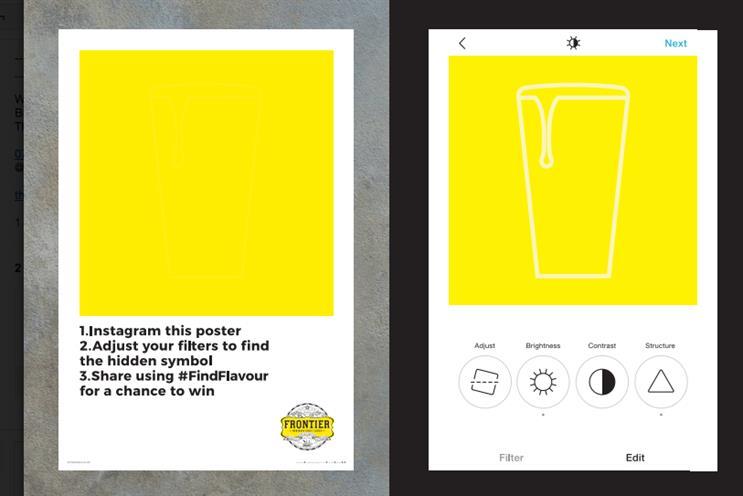 Frontier: posters, left, reveal hidden images when viewed on Instagram