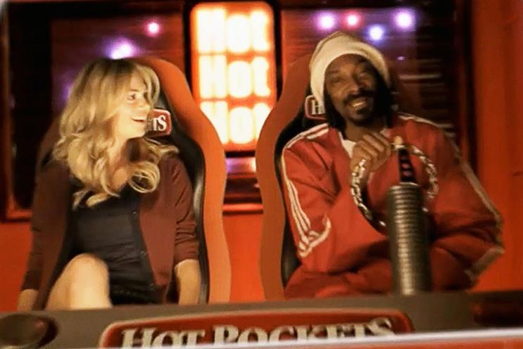 Snoop: appears in latest Hot Pockets ad with model Kate Upton