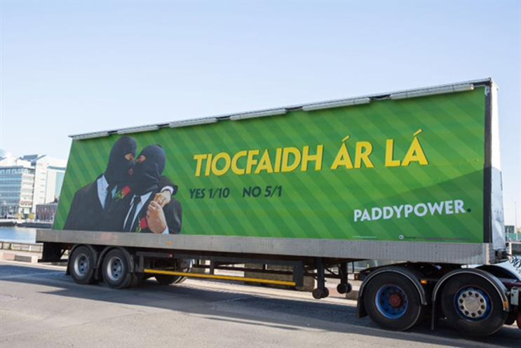 Paddy Power: the ad's Gaelic headline translates to 'our day will come'