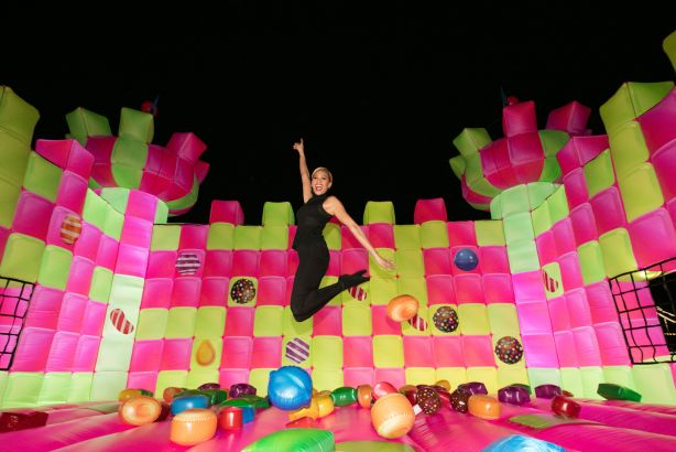 Alesha Dixon on the jelly-like bouncy castle in London