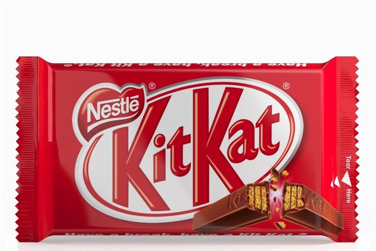 Kit Kat: the four-finger shape isn't distinctive enough to be trademarked