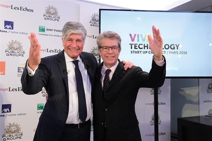 The 90 businesses were invited to Viva Technology , the event launched by Maurice Lévy, left, and Groupe Les Echos' Francis Morel