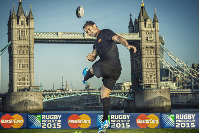 Dan Carter: New Zealander kicks off MasterCard's sponsorship of Rugby World Cup 2015
