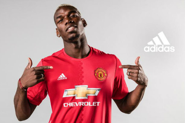 Paul Pogba: Man Utd's and the world's most expensive signing (©adidasfootball via Twitter)