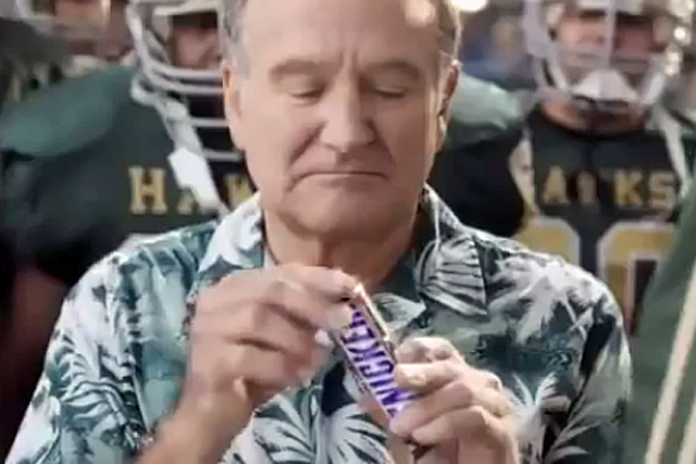 Robin Williams: a scene from a commercial for Snickers