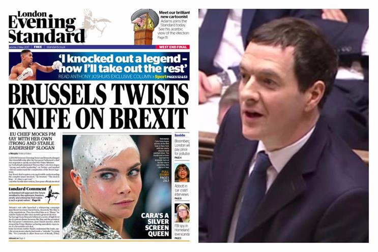 London Evening Standard's front page today, edited by Osborne, right