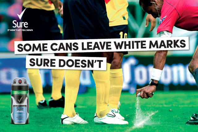 Sure: latest ad campaign plays on the use of the referee's white spray at the World Cupp