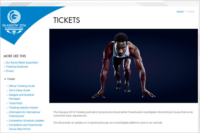 Glasgow 2014: technical problems forced the closure of the ticketing website