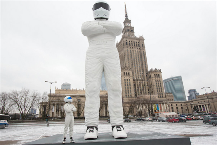 BBC: giant Stig erected in publicity stunt for launch of new channel