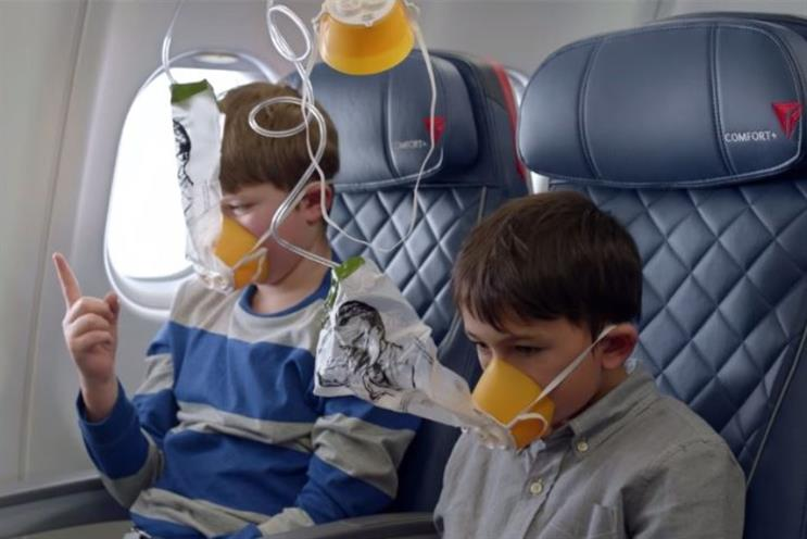 Delta: borrows from viral internet videos such as 'Charlie bit my finger'
