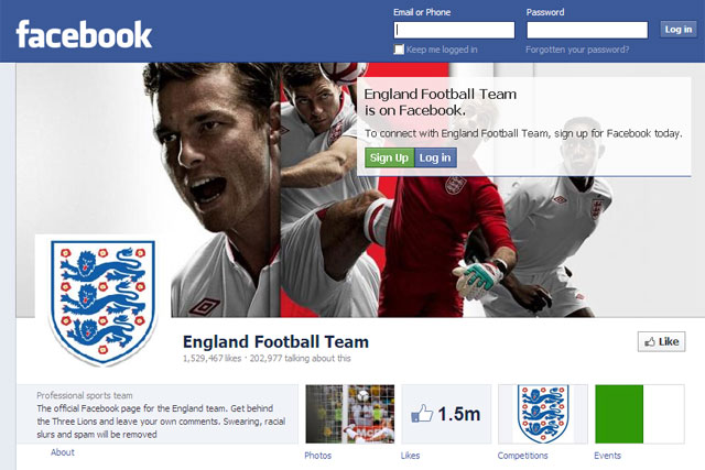 Facebook: England's Football team page gained 3,669 fans during latest match