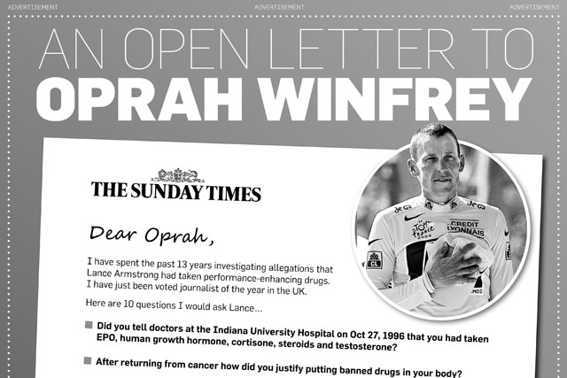 The Sunday Times: lists questions for Lance Armstrong in US newspaper ad