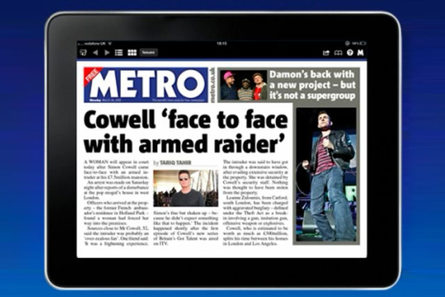 Metro: unveils marketing campaign to promote its tablet edition in London