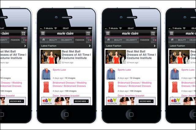 Marie Claire app: sponsored by eBay Fashion