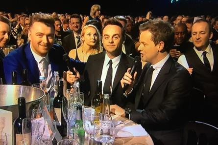 Last year's Brit Awards was hosted by Ant and Dec, pictured with Sam Smith, left