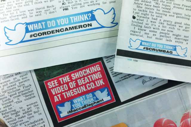 The Sun: to print dedicated hashtags alongside its news stories