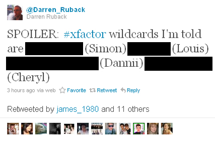 Twitter: just one of the many tweets naming 'X Factor' wildcards