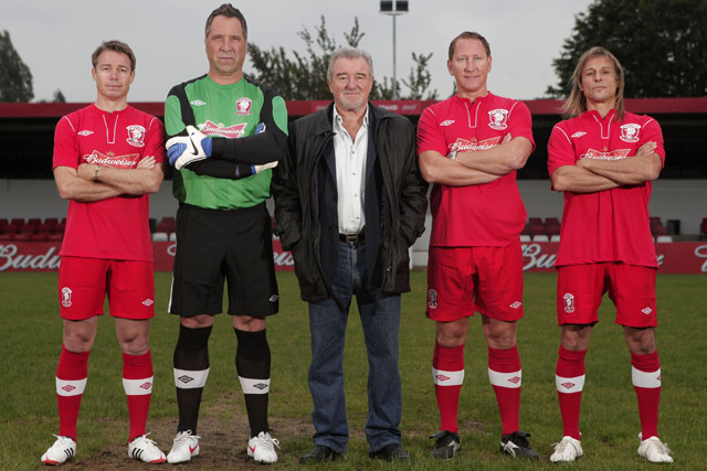 Webley FC: Graeme Le Saux, David Seaman,Terry Venables, Ray Parlour and Claudio Caniggia