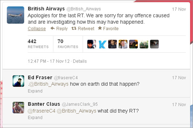 British Airways: apologises on Twitter