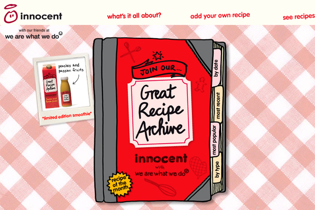 Innocent: creates Great Recipe website