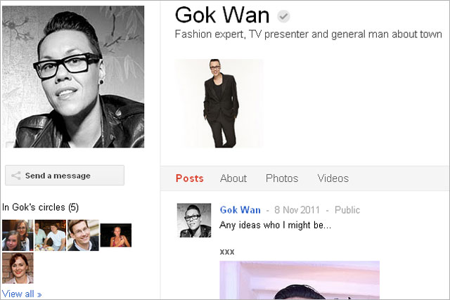Gok Wan: opens up his Google+ account for Specsavers drive