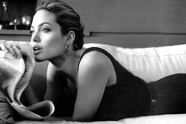 Angelina Jolie: models for US brand St John in 2010