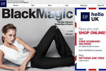 Gap: launches UK online shopping site