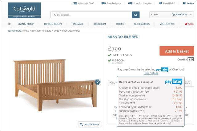Cotswold: furniture retailer introduces Wonga's PayLater service