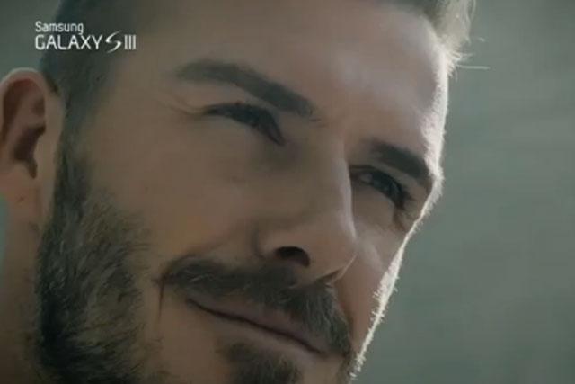 David Beckham: promotes the Samsung Galaxy SIII