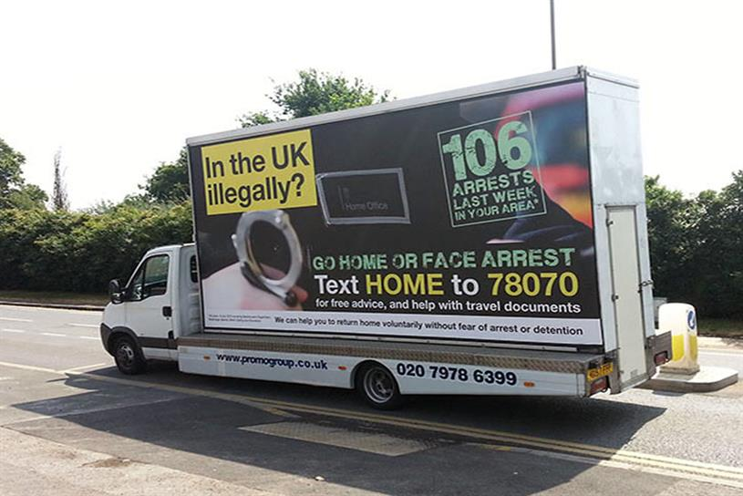 Ban: campaign calling on illegal immigrants to leave the UK was outlawed for being misleading