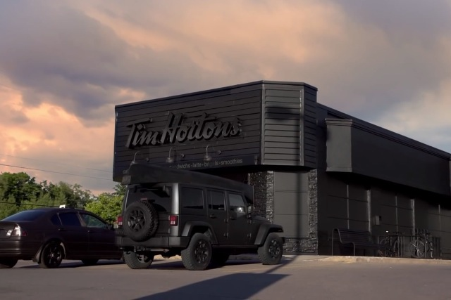 Tim Hortons: the Canadian coffee store blacked out premises to promote Dark Roast brew