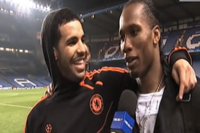 Musician Drake and former Chelsea striker Didier Drogba