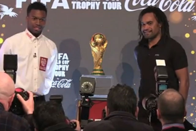 Coca-Cola: Daniel Sturridge and Christian Karembeu at the World Cup trophy tour