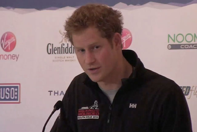 Prince Harry speaking at a press event for Walking With the Wounded