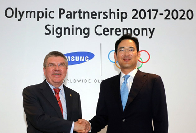 Signing up: IOC President Thomas Bach and Samsung's Jay Y Lee