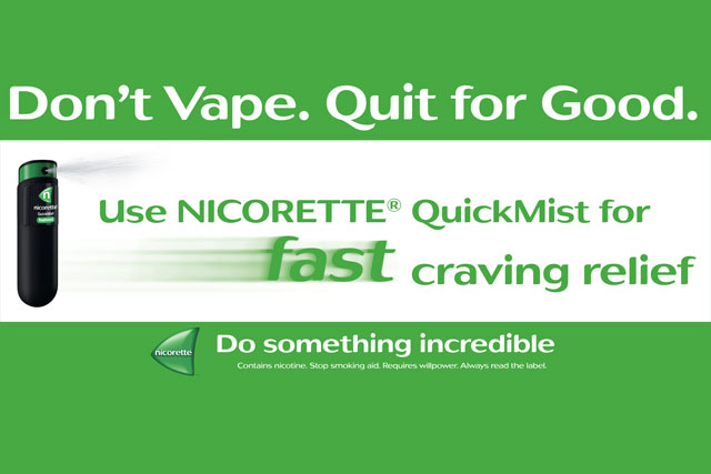 Nicorette: ad campaign tells smokers looking to quit not to 'vape'
