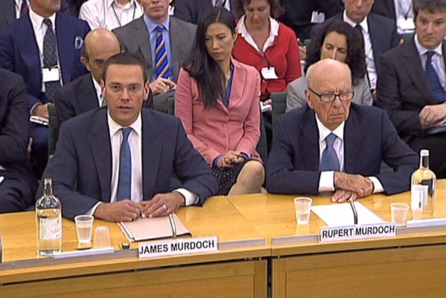 James and Rupert Murdoch: facing committee