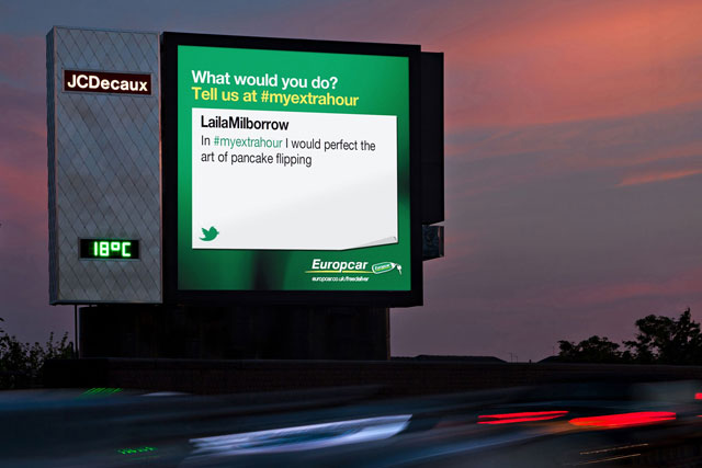 Europcar: outdoor campaign ad on the new JCDecaux Cromwell Road site