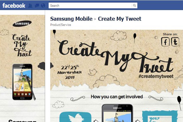 Samsung: launches Facebook and Twitter campaign