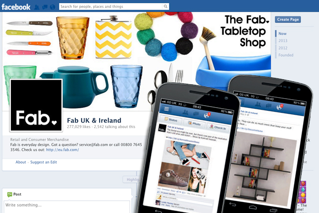 Fab.com: uses a range of Facebook solutions