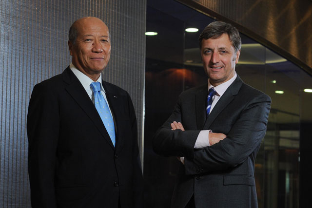 Top men: Dentsu president and CEO Tadashi Ishii and Aegis chief executive Jerry Buhlmann