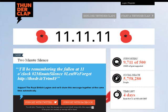 Royal British Legion: runs Thunderclap campaign