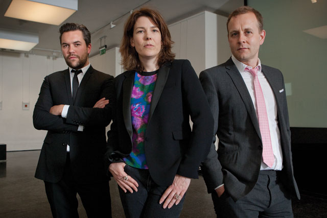 Grey: (l-r) Nils Leonard, Lucy Jameson and Chris Hirst
