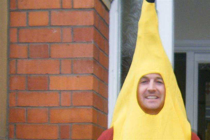 Charity appeal: Giles Dempsey slips on his banana skin for Red Nose Day