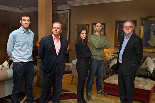 From l-r, Angus Macadam, Stewart Owen, Ida Rezvani, Paul Jordan and Jim Kelly